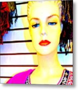 Red Lips And Sequins Metal Print