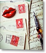 Red Lips Pin And Old Letters Metal Print