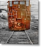 Red Locomotive Metal Print