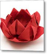 Red Lotus Origami Metal Print