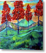 Red Maples On Green Hills With Name And Title Metal Print
