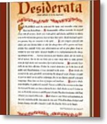 Red Matted Floral Scroll Desiderata Poem Metal Print