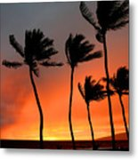 Red Maui Sunset Hawaii Metal Print