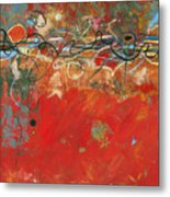 Red Meander Metal Print
