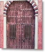 Red Medieval Wood Door Metal Print