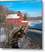 Red Mill In Winter Metal Print
