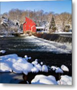 Red Mill In Winter Landscape Metal Print by George Oze