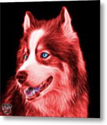 Red Modern Siberian Husky Dog Art - 6024 - Bb Metal Print
