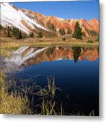 Red Mountain Reflection Metal Print