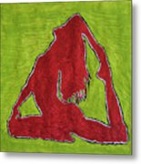 Red Nude Yoga Girl Metal Print
