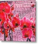 Red Orchids On Linen Zen Metal Print