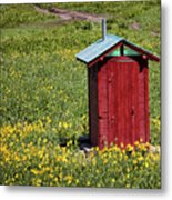 Red Outhouse 3 Metal Print