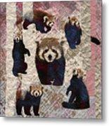 Red Panda Abstract Mixed Media Digital Art Collage Metal Print