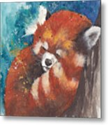Red Panda Sleeping Metal Print