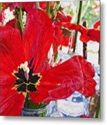 Red Party Flowers IIi Metal Print