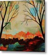 Red Tree Path Metal Print