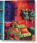 Red Patio Metal Print