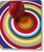 Red Pear On Circle Plate Metal Print
