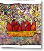 Red Pears In A Bowl Metal Print