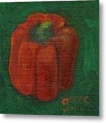 Red Pepper On Linen Metal Print
