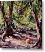 Red Pines Floater Metal Print