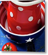 Red Pitcher And Tomato Metal Print