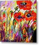 Red Poppies And Bees Provence Dreams Metal Print
