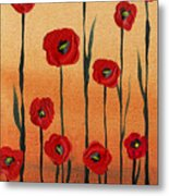 Red Poppies Decorative Art Metal Print