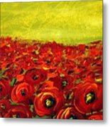 Red Poppies Field  Metal Print