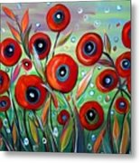 Red Poppies In Grass Metal Print