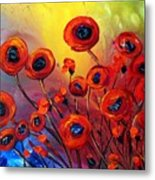 Red Poppies In Rain Metal Print