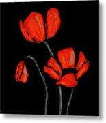Red Poppies On Black By Sharon Cummings Metal Print