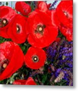Red Poppy Cluster With Purple Lavender Metal Print