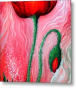 Red Poppy Flower. Pink Sunset Metal Print
