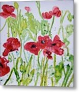 Red Poppy Flowers Metal Print
