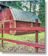 Red Rail Barn Metal Print