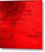 Red Rain Droplets Metal Print