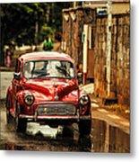 Red Retromobile. Morris Minor Metal Print