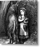 Red Riding Hood Meets Old Father Wolf Metal Print