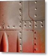 Red Rivets Metal Print