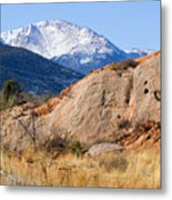 Red Rock And Pikes Peak Metal Print