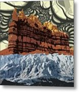 Red Rock White Ice Metal Print