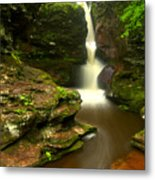 Red Rocks And Lush Green Forest Metal Print