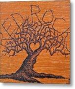 Red Rocks Love Tree Metal Print