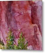 Red Rocks With Two Junipers Metal Print