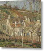 Red Roofs, Corner Of A Village, Winter Metal Print