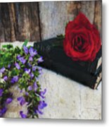 Red Rose And Sage With Vintage Books Metal Print
