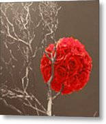 Red Rose Ball In Field Of Gray Metal Print