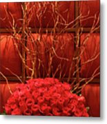 Red Rose Display Close Up Metal Print by Linda Phelps