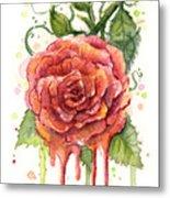 Red Rose Dripping Watercolor  Metal Print